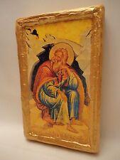 Prophet Elijah Elias Ilias Rare Eastern Greek Orthodox Icon on Aged Wood Plaque