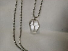...Silver Tone,Faceted Crystal Clear Rock Crystal Quartz Pendant Necklace...