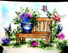 Wood bench only   U get #2 photo  L@@k@photo ART IMPRESSIONS RUBBER STAMPS