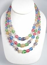 Vintage Hand Knotted Triple Strand Art Glass Pastel Beads Necklace Japan Pink