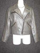 GUESS Silver Leather Motorcycle Jacket SZ S NEW
