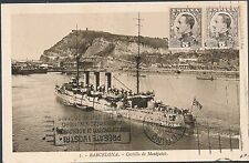 1931 BArcelona Spain RPPC Postcard Cover to Turin Italy Castle Montjuich Ship
