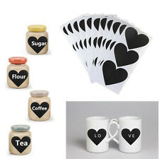36 pcs Removable Heart Pattern Chalkboard Label Chalk Pen Stickers Black 2016