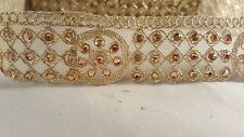 *Stunning gold embroidered diamante trim lace for crafting designing edging 1M