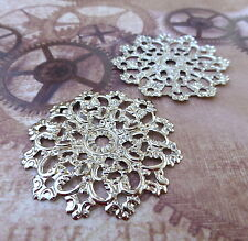 Pack of 10 Large Round Silver Filigree
