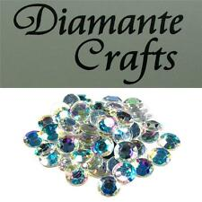 50 x 12mm Clear Iridescent AB Diamante Loose Flat Back Rhinestone Craft  Gems