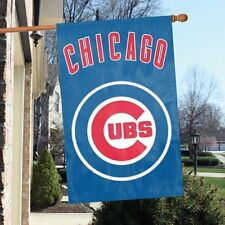 "Chicago Cubs Applique & Embroidered Two Sided Banner Flag 44""X28"""