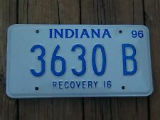 3630 B = 1996 Indiana Recovery 16  License Plate  **Bar Pub Mancave Art**
