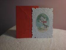 Carol's Rose Garden - Christmas Card - A Kitten looking at reflection  on cover