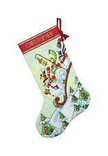 Cross Stitch Kit ~ Dimensions Sledding Snowman Christmas Stocking #70-08853