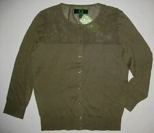 C WONDER Medium Fatique Green Mesh Stretch Cotton CARDIGAN Sweater NWT New Med M