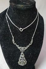 Art Deco? 935 Silver & Marcasite Necklace 46cm x 3.7cm Drop 7.4g