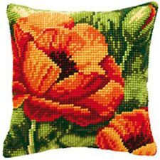 Poppy Heads - Large Holed Tapestry Cushion Kit/Printed Chunky Cross Stitch