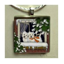WEST HIGHLAND TERRIER DOGS WESTIE WINDOW GLASS TILE PENDANT NECKLACE WITH CHAIN