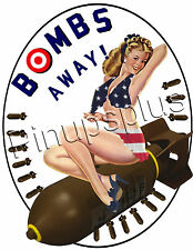 Bombs Away Pinup Girl Waterslide Decal Bomber Nose Art S835 by Pinupsplus