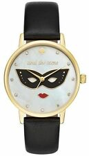 NWT KATE SPADE Women's Metro Black Leather Strap MOP Mask Dial Watch KSW1181 NIB