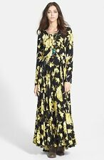 Free People First Kiss Cotton Maxi Dress Black Yellow Floral Long Sleeve