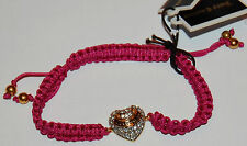 NWT Juicy Couture Gold-Clear Rhinestones Heart-Purple Woven Friendship Bracelet