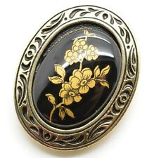 Signed WESTERN GERMANY Vintage Dress Scarf Shoe Clip Gold Tone Cameo Flower