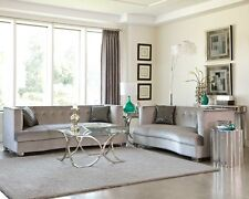 SLEEK SILVER GRAY GREY VELVET SOFA LIVING ROOM FURNITURE
