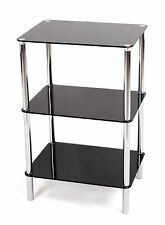 3 TIER GLASS SHELF UNIT BLACK GLASS CHROME FRAME SIDE/END TABLE HOME DISPLAY