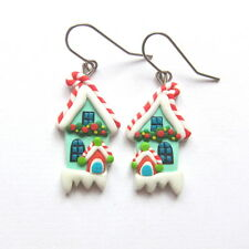 Christmas Santa Claus Funny Mint Green Earrings Polymer Clay Girls Gift Idea