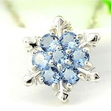 Fashion Women 925  silver Dazzing Snowflake Blue Crystal Sapphire Pendant you316