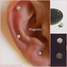 MAGNETIC 4mm CREAM Faux Pearl Dome Stud Fake Non-Pierced Earrings 1 Pair #Mag119