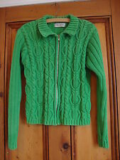 BERKERTEX GREEN COTTON CABLE KNIT ZIP UP CARDIGAN.  SIZE 10/12
