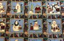 Debbie Mumm Snowman Snowmen Little Squares Quilt Patchwork Fabric Fat Quarterish