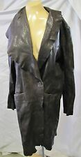 XIAO YAN oGIN JACKET COAT LONG TRENCH BROWN DISTRESSED SHEEP SKIN LEATHER SZ M