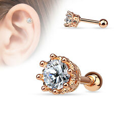 8 Prong 14K Gold Plated Surgical Steel Helix Tragus Cartilage Bar Stud Earring