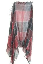 ELEGANT LADIES BLACK/ BURGUNDY PLAID FLANNEL DESIGN CHEQUERED SHAWL (MS37)