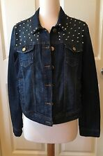 ROMEO & JULIET COUTURE DARK DENIM BLUE JEANS STUDDED BUTTON JACKET LARGE L