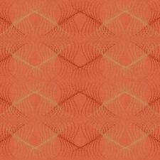 Wallpaper Designer Retro Modern Orange & Gold Dot Diamond Optic on Orange Hatch