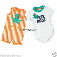 GYMBOREE OCTOPUS HUGS OUTFIT,2pc,ROMPERS,FREE HUGS ONE PIECE, 3-6 Mths NWT GIFT