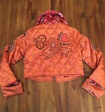 Oilily Girls Orange Copper Quilted Embroidered Crop Jacket Size 128 (7-8)