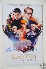 Taron Egerton & Colin Firth signed 20x30cm Kingsman Poster Autogramm / Autograph