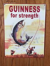Guinness Stout Nitro Beer Brewery Dublin Ireland Fishing Vintage Metal Sign