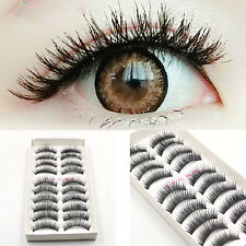 10 Pares /Set Negro Natural Falsas Pestañas postizas Maquillaje latigazos hgvhg