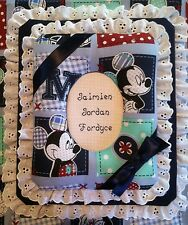MICKEY MOUSE PATCHWORK Custom  Personalized Photo Album / Scrapbook HANDMADE