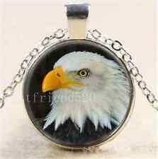 Eagle Head Photo Cabochon Glass Tibet Silver Chain Pendant Necklace