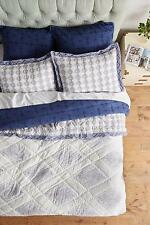New Anthropologie 3 PC Catarine King Hothouse Quilt & 2 KinG Shams Blue