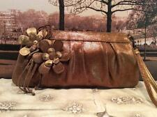 Isabella Fiore Copper Embossed Leather Clutch Bag Wristlet Handbag Purse Flowers