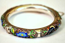 Exquisite Antique Chinese Solid Silver Enamel Floral Handmade Bangle