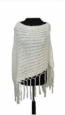 PONCHO Size 8 Size 10 White Winter Boho Casual Everyday Outdoor