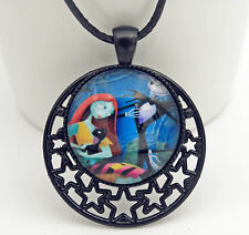 Punk Nightmare Before Christmas Jack and Sally Cat Glass String Necklace A4505