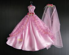 Pink Wedding Gown Party Handmade Costumes for Barbie, Dolls Dress up Clothes