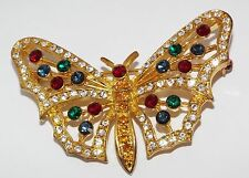 Vintage signed EISENBERG ICE BUTTERFLY pin BROOCH costume jewelry rhinestone