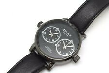 Omax Mens Watch Two Time Zone All Black  Big Face Two Dials Leather Band